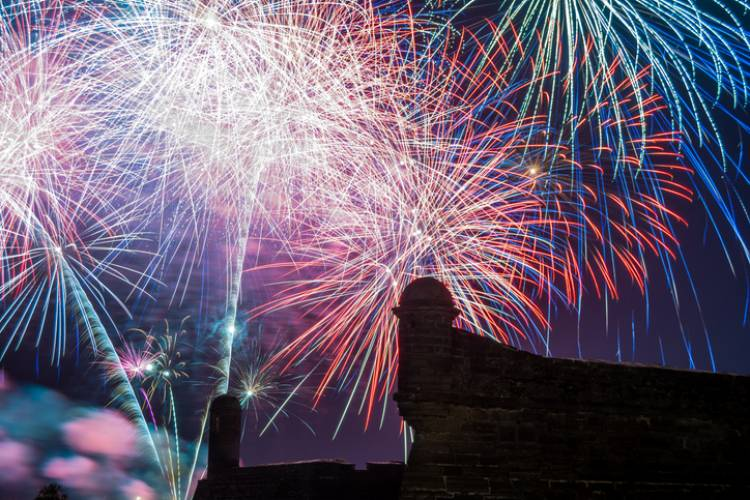 bright colored fireworks display over castillo de san marcos in st augustine florida