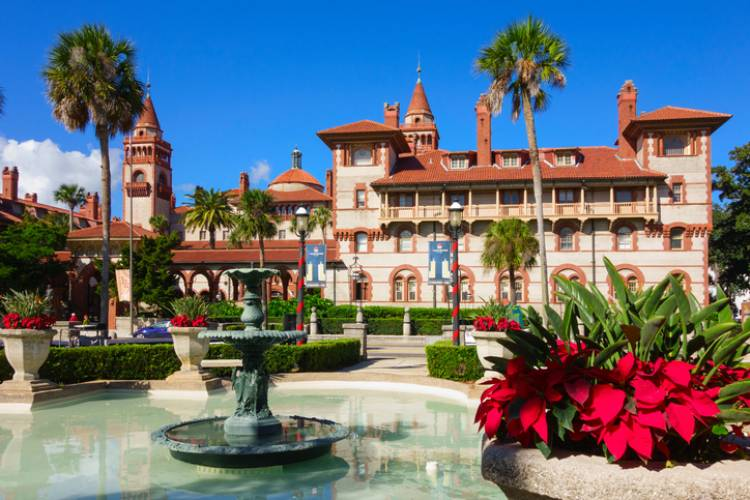 flager college museum in st augustine with christmas decorations