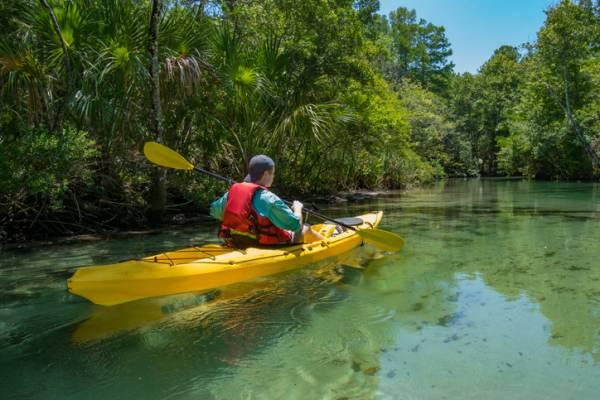 kayaking down scenic river in florida