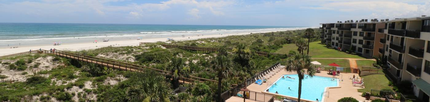 view of st augustine beach from an aerial view over a coastal realty resort