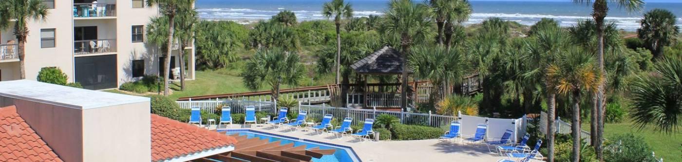 pool view of ocean village club condos at St Augustine Florida